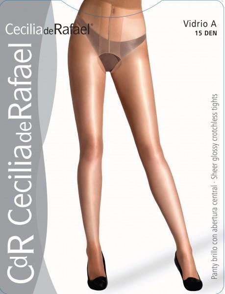 Cecilia de Rafael Vidrio A - Sheer, gloss tights with open crotch, 15 DEN