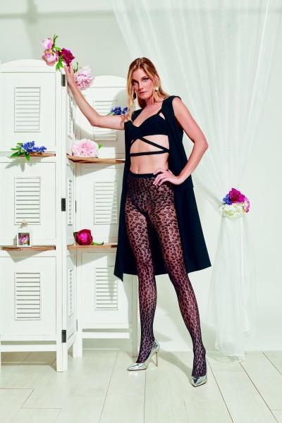 Trasparenze UVA - Leopard pattern fishnet tights
